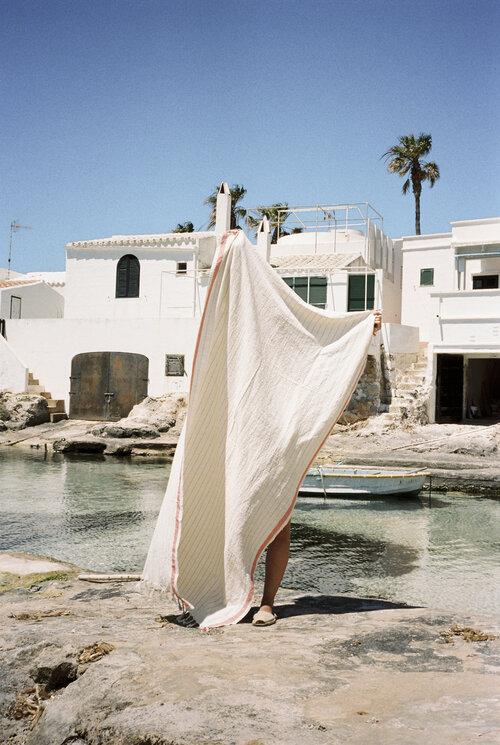 bahia coral handwoven towel