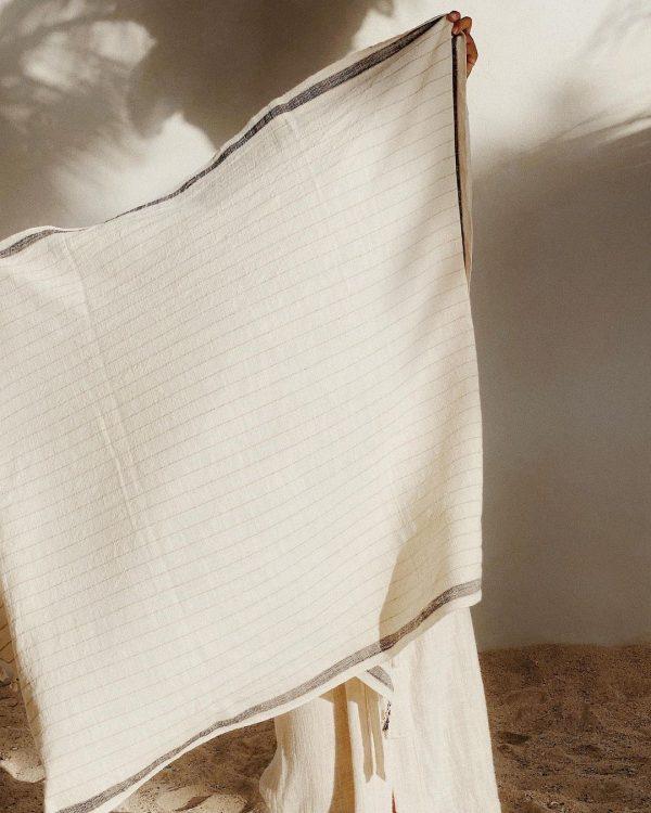 bahia black handwoven towel